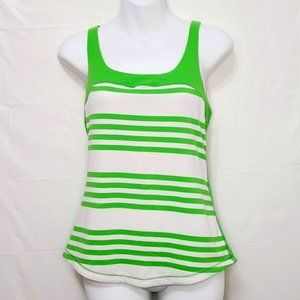 Lululemon Racer Back Scoop Neck Tank Green+White